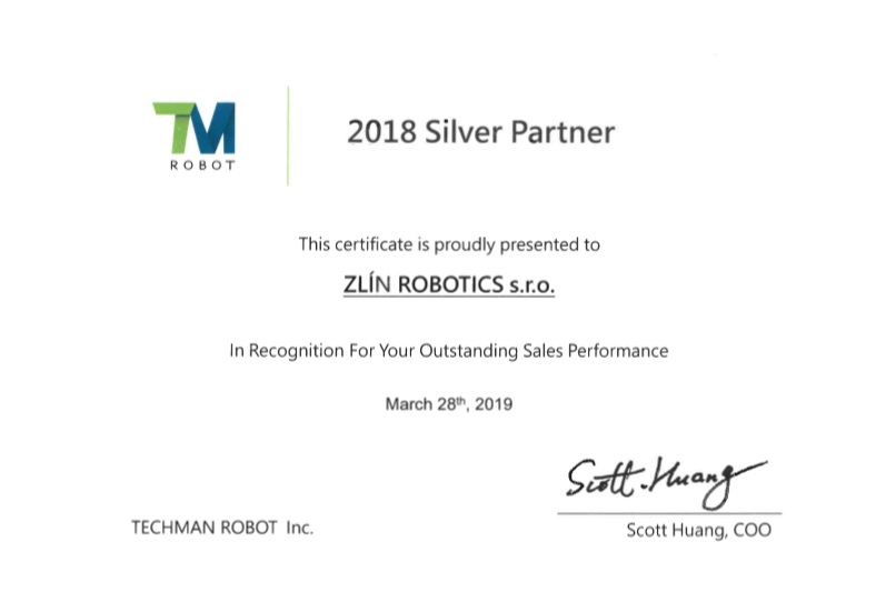 WE HAVE OBTAINED TECHMAN ROBOT AWARDS - 2018 Silver Partner